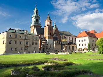 Royal Archcathedral Basilica in Krakow, Poland, with Wawel Castle at right