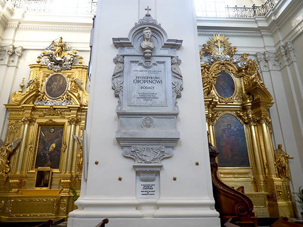 Chopin's actual heart is entombed at the base of this pillar inside Holy Cross Church in Warsaw, Poland