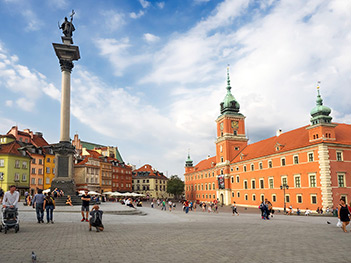 Castle Square with Sigismund's Column in Warsaw Poland