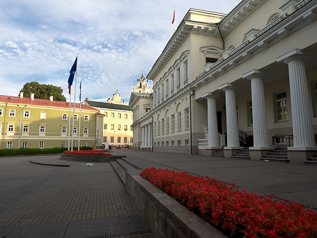 Residential Palace of the President of the Republic of Lithuania, looking toward the University of Vilnius
