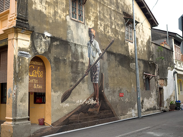 """""""The Indian Boatman,"""" street art in George Town, on Klang Avenue"""