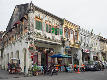 "Chinese Shophouse Row in Penang, Malaysia, built in the ""Early Straits"" eclectic style, between 1890'2s and 1910"