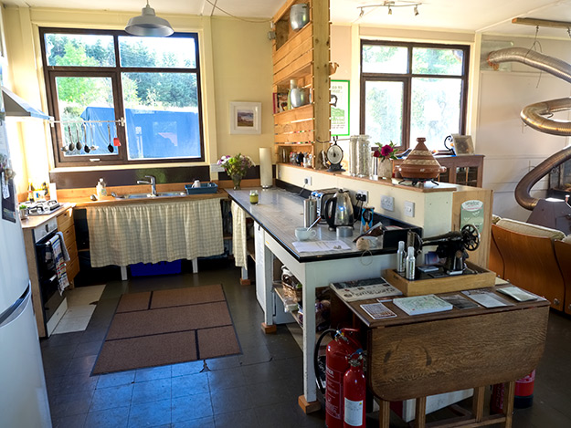 The common kitchen, where guests are welcome to prepare meals