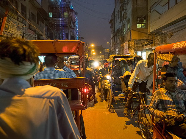 Rickshaw ride in Old Delhi, India