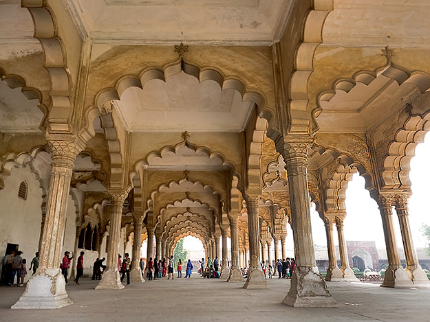 Columns and scalloped arches of Diwan-i-Am the Public Audience Hall inside Agra Fort