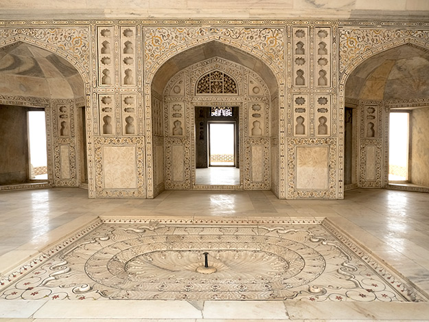 Interior of the white marble Musamman Burj at Fatehpur Sikri is covered with hand-carved geometric designs