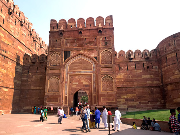 Massive gates lead to the interior of Agra Fort