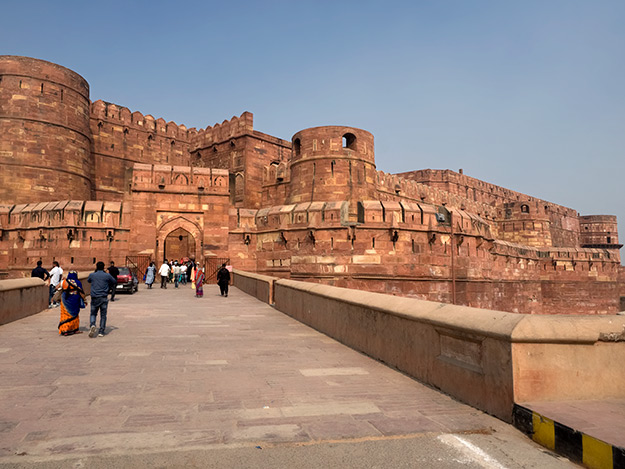 Entrance to Agra Fort, A magnificent monolithic red sandstone fortification built in the mid-16th century