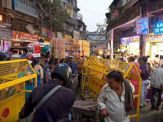 A Gordian traffic knot on a busy street in Old Delhi India