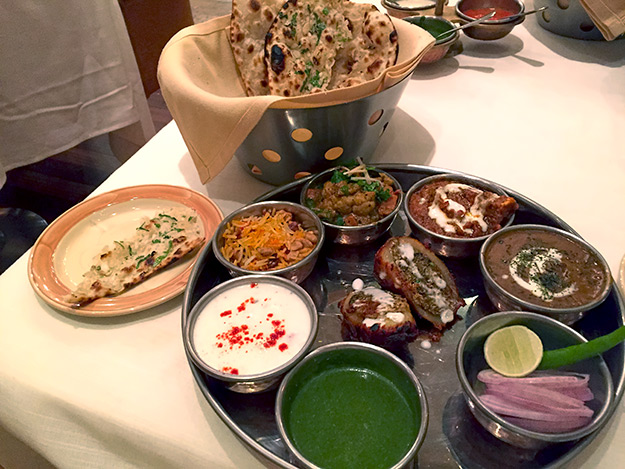 Many north Indian dishes are represented on this appetizer platter at Kebab-e-Que Restaurant at DoubleTree by Hilton in Agra, India