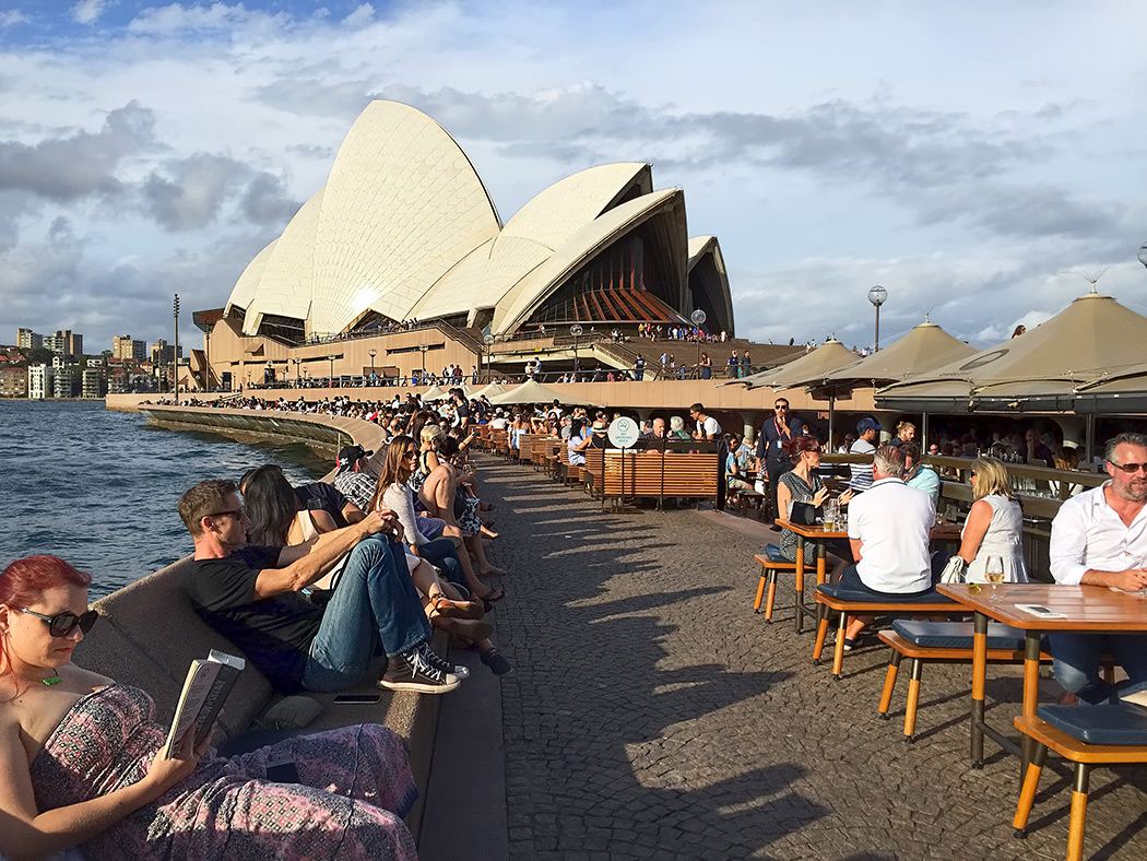 Whiling away the afternoon at the magnificent Sydney Opera House in Sydney, Australia