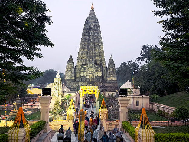 Mahabodhi Temple in Bodh Gaya, is the site of the Bodhi Tree beneath which Buddha attained enlightenment