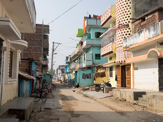 A typical neighborhood street in Bodh Gaya, India