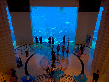 Massive aquarium at Atlantis Resort in Dubai, in the United Arab Emirates