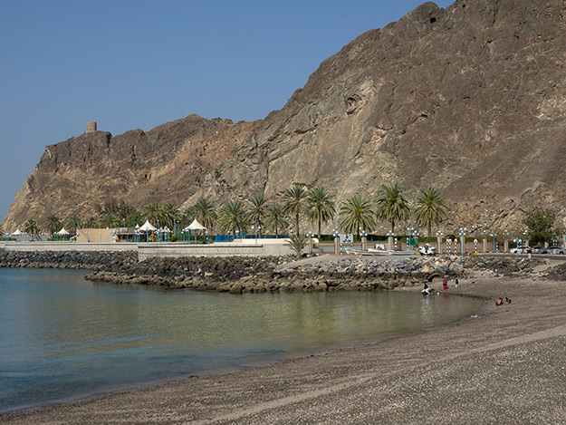 A palm-lined beach along the Corniche in Muscat, Oman
