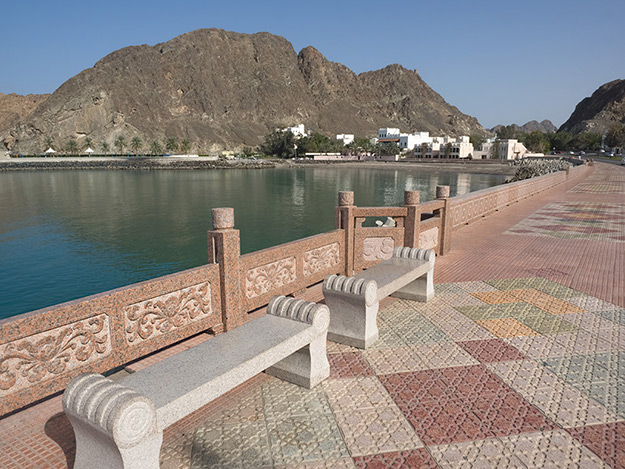 The Corniche is a 4-mile long walkway between the Mutrah area of Muscat, and Old Muscat, the original site of the city
