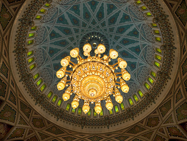The stunning Swarovski crystal chandelier in the Sultan Qaboos Grand Mosque