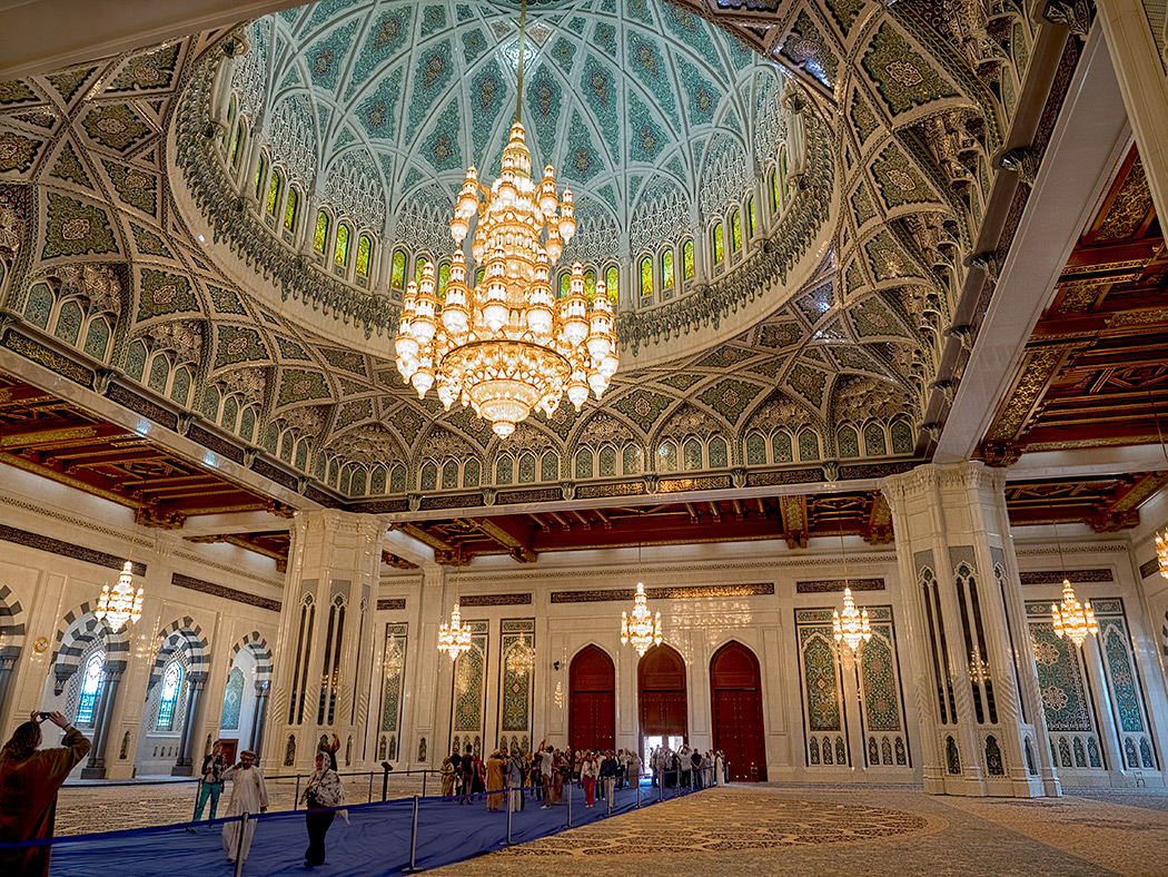 Interior of the Sultan Qaboos Grand Mosque in Muscat, Oman