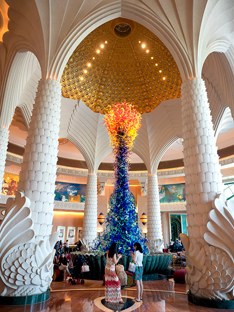 Centerpiece in the lobby of Dubai's Atlantis The Palm Resort features a 32-foot high, hand-blown glass sculpture by Dale Chihuly, the world's foremost glass artist