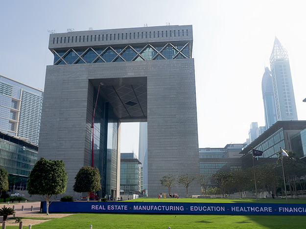 The Gate Building is the centerpiece of the Dubai International Financial Centre
