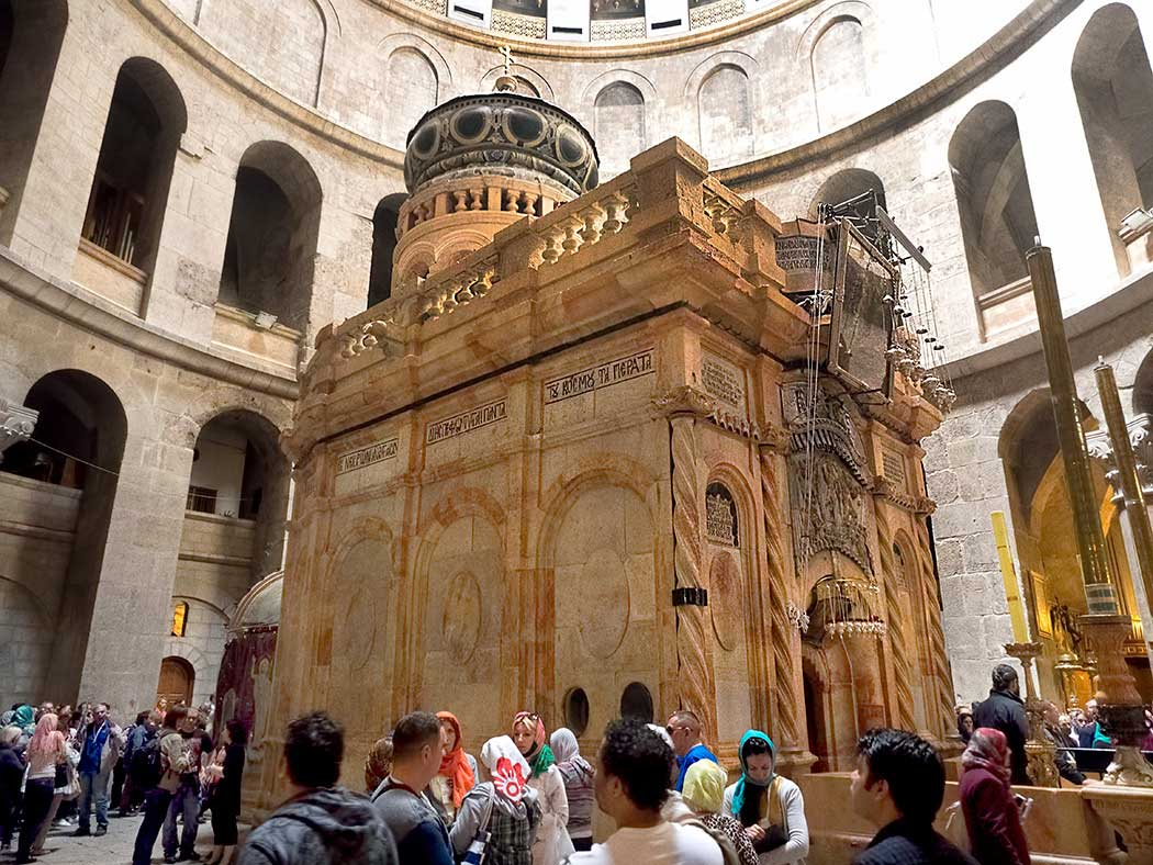 Tomb of Jesus is said to be located inside the Edicule (shrine), which stands in the center of the Church of the Holy Sepulchre in the Old City of Jerusalem