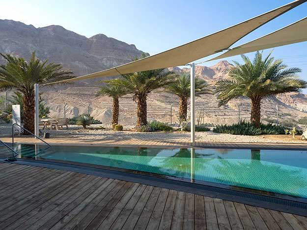 The outdoor fresh water pool at Ein Gedi Spa, an oasis near the Dead Sea in Israel