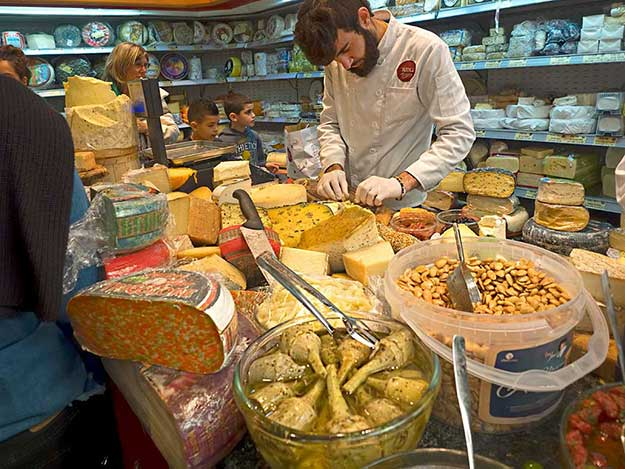 Basher Fromagerie (cheese shop) in Machane Yehuda Market. The first shop in the shuk to open with gourmet cuisine, it was instrumental in the rebirth of the market.