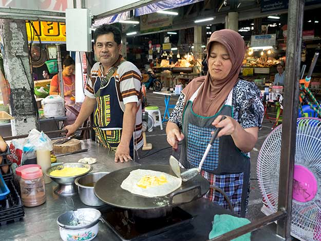 This couple, who makes sweet and savory Roti (pancakes), have been a mainstay at Chiang MaiGate night market for as long as I can remember