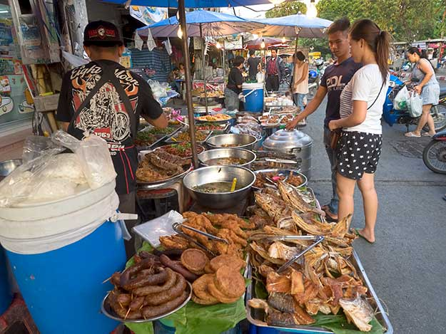 Evening food tables at Chiang Mai Gate Market