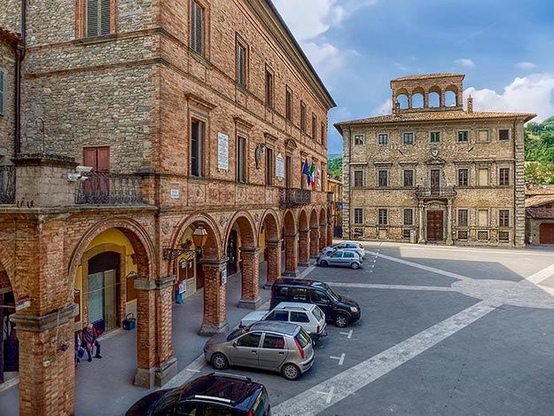 The main Piazza of Mercatello sul Metauro, Italy, where I spent an idyllic holiday at the 16th century Palazzo Donati