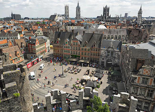 View over Sint Veerleplein Square in Ghent, Belgium
