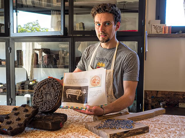 Emanuele Francioni uses ancient hand-carved wooden blocks to hand-print patterns on linen, just one of the many fascinating atisans I met in this undiscovered gem in Italy known as the Le Marche region