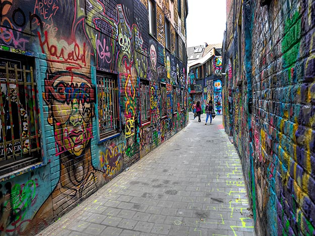 Graffiti Street in Ghent is plastered with street art from top to bottom, for more than two blocks