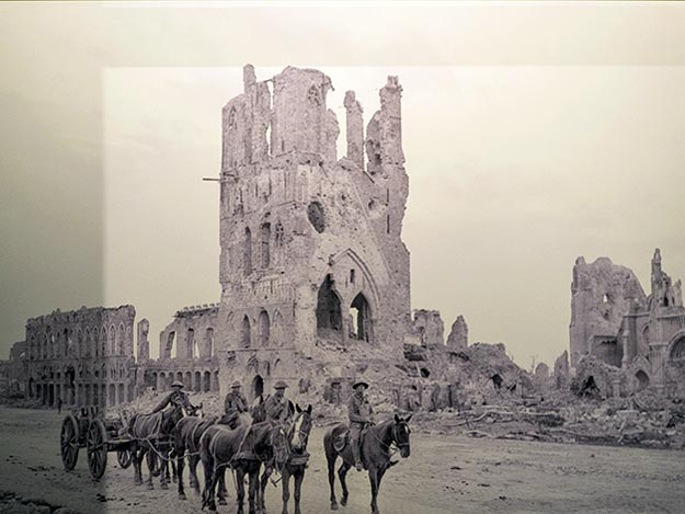 Photo at Flanders Fields Museum in Ypres, Belgium, shows the Ypres Cathedral at the end of the war