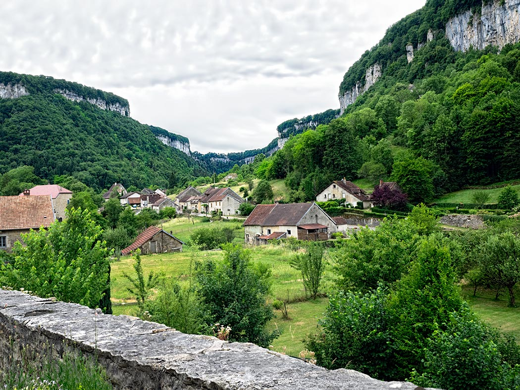 "Located in the Jura department in eastern France, Baume-les-Messieurs enjoys the status of ""Plus Beau Village de France"" (most beautiful villages in France)"