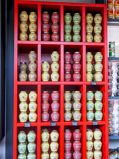 More than 60 varieties of mustard are available at Fallot Moutarderie in Beaune, France