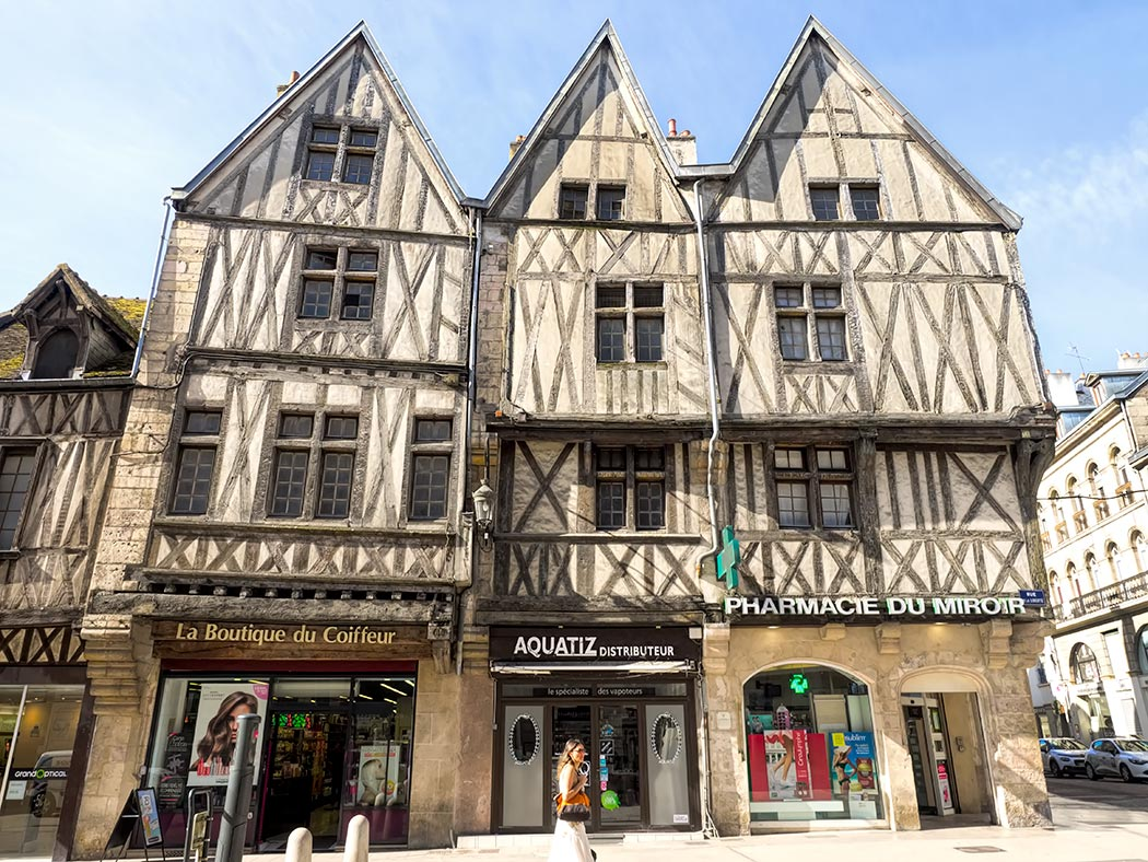 Half-timbered houses in Dijon, France