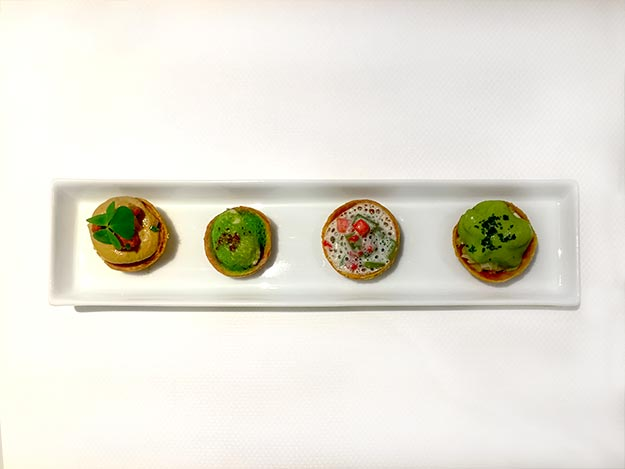 Aperitif canapés at William Frachot, a two-star Michelin Restaurant in Dijon, France