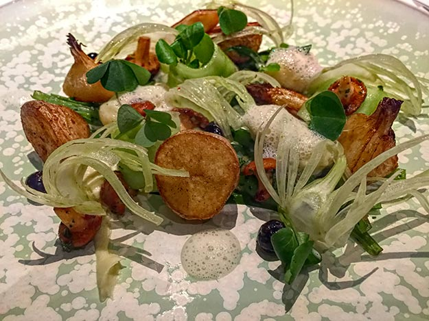 An organic vegetable platter with potato gnocchi was my main course at the two-star Michelin William Frachot Restaurant
