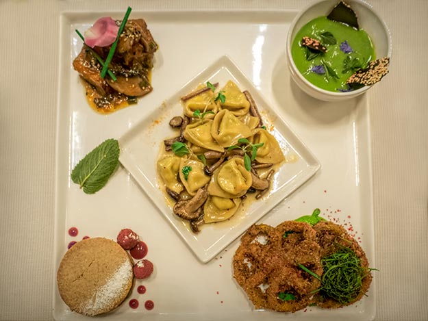 Piatto Quadro lunch plate with five seasonal selections at Joia Vegetarian Restaurant