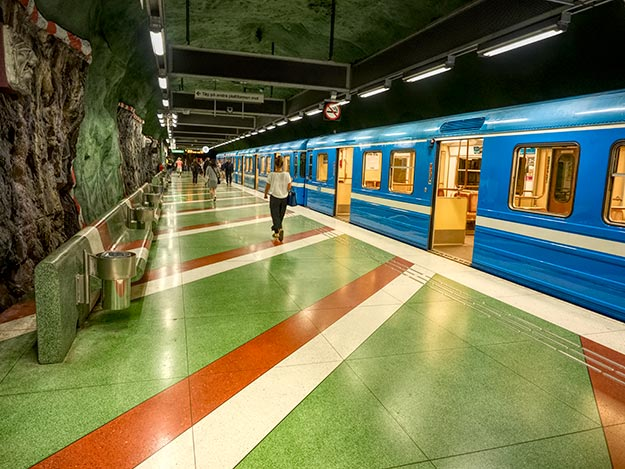 Riotous colors predominate at most stations that feature art in the Stockholm Metro