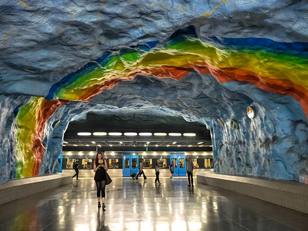 Five bands of this rainbow at Stadion station celebrate the 1912 Olympics, which were held in a nearby stadium