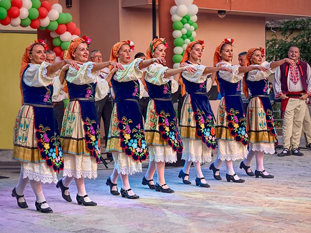 Dancers perform traditional Bulgarian folk dances at Beli Noshti (White Night) Festival in Beli Izvor, Bulgaria