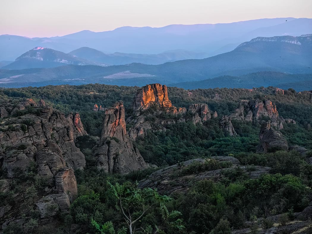The red rocks of Belogradchik, Bulgaria, turn fiery at sunset