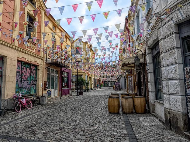 The Trap, a neighborhood of cobbled streets, cafes, and bars in Plovdiv that are popular with tourists and locals alike