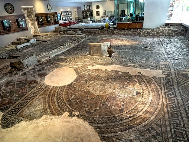 These stunning floor mosaics were disovered during an expansion of the Metro underpass in Plovdiv, Bulgaria. Today they are on display in the Trakart Cultural Center and Museum, which was built around the exact spot where they were discovered.