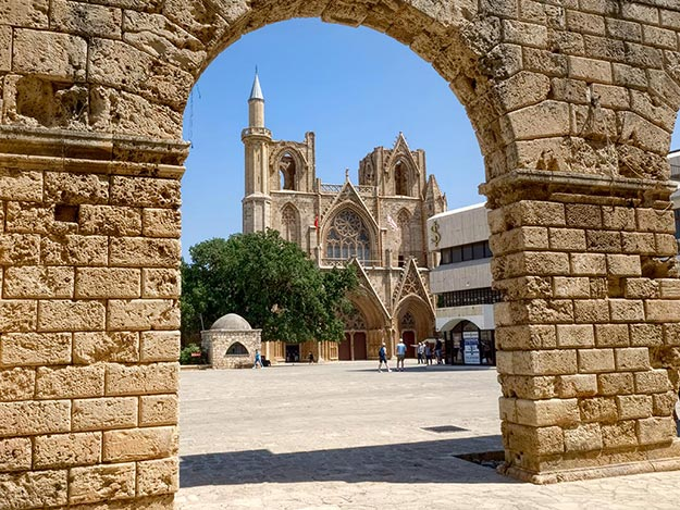 Consecrated in 1328, Saint Nicholas Cathedral was converted to Lala Mustafa Pasha Mosque after the Ottoman Empire captured Famagusta in 1571