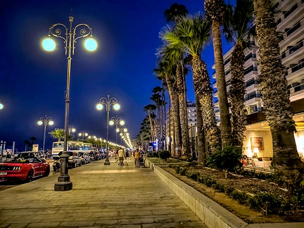 Walking the seaside promenade in the town of Larnaca, Cyprus