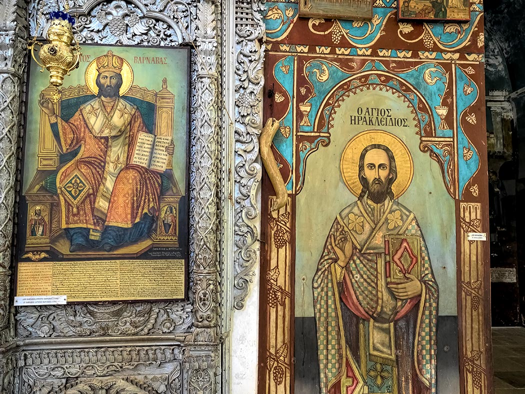 Icons of St. Barnabus, patron saint of Cyprus, are displayed inside the Saint Barnabas Monastery and Icon Museum near Salamis, Cyprus