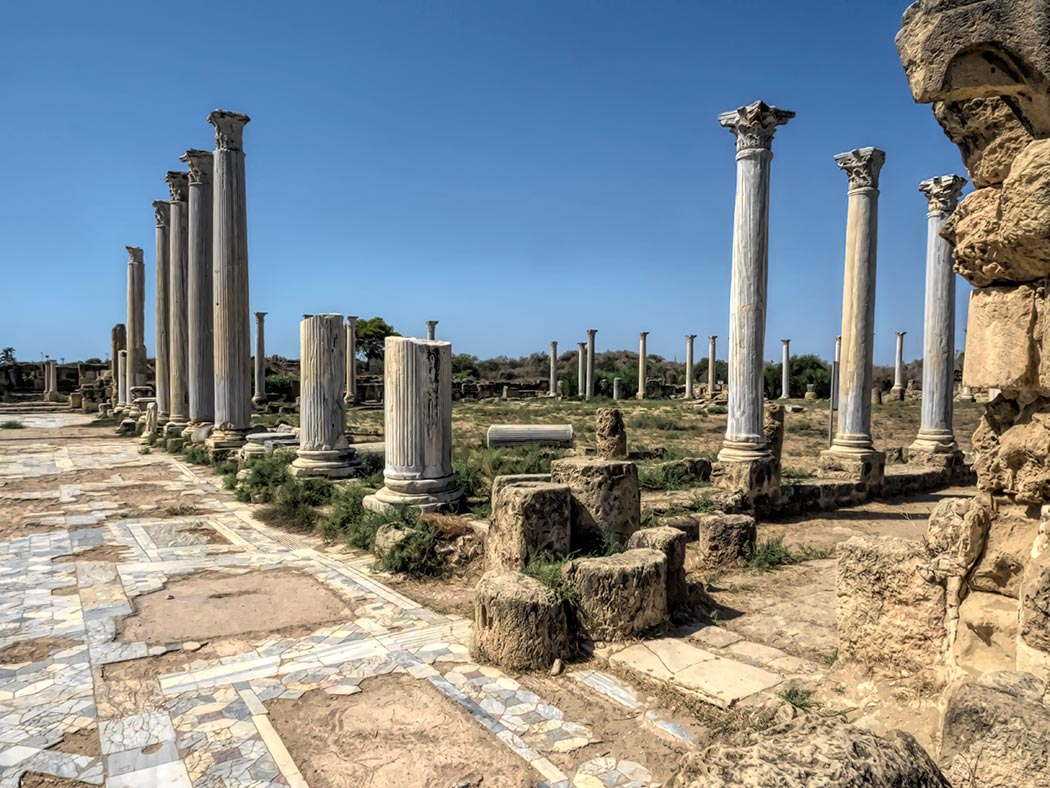 Stately Corinthian columns still stand among the ruins of the ancient city-state of Salamis in Cyprus